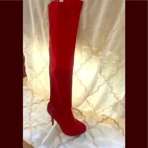 Size 10 Red over the knee suede boot.
